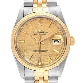Rolex Datejust 36 Steel Yellow Gold Linen Dial Vintage Mens Watch 16013