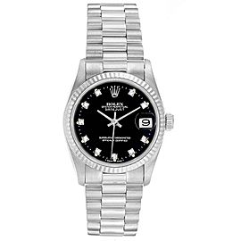 Rolex President Datejust Midsize White Gold Diamond Ladies Watch 68279