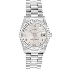 Rolex President Datejust Midsize Platinum Diamond Ladies Watch 68286