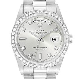 Rolex President Day-Date Platinum Diamond Mens Watch 18346