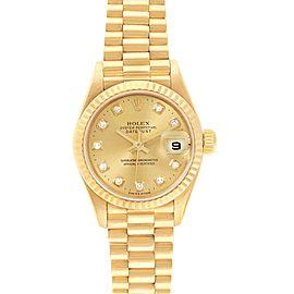 Rolex President Datejust 26 Yellow Gold Diamond Dial Ladies Watch 69178