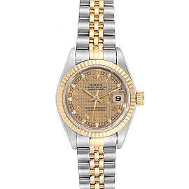 Rolex Datejust 26 Steel Yellow Gold Houndstooth Ladies Watch 69173