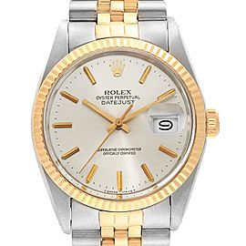 Rolex Datejust Steel Yellow Gold Silver Dial Vintage Mens Watch 16013