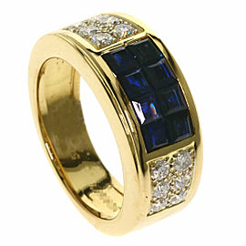CARTIER 18k Yellow Gold Diamond Diaboro Sapphire Ring