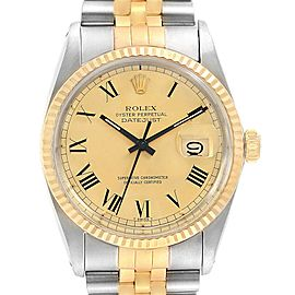 Rolex Datejust Steel Yellow Gold Buckley Dial Mens Watch 16013 Box Papers