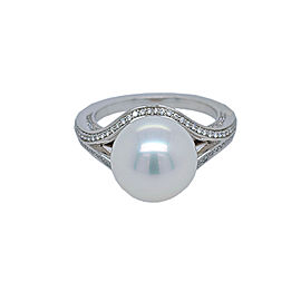 Mikimoto PRA 692ND W 18k White Gold Pearl, Diamond Ring