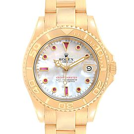 Rolex Yachtmaster Midsize 35mm Yellow Gold MOP Ruby Unisex Watch 68628