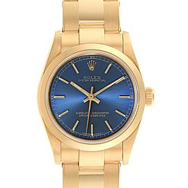 Rolex Midsize President 31 Yellow Gold Blue Dial Ladies Watch 67488