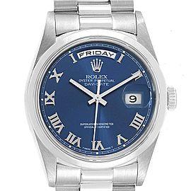 Rolex President Day-Date Platinum Blue Roman Dial Watch 18206