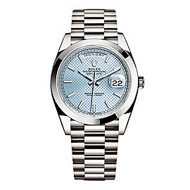 Rolex Day-Date II Platinum Ice Blue Diagonal Dial 40mm Watch