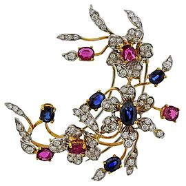 Gold Diamond Sapphire Ruby Flower Brooch Pin