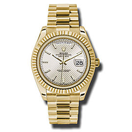 Rolex Day-Date Yellow Gold Silver Diagonal Motif Dial 40 mm Watch