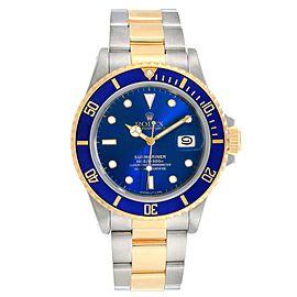 Rolex Submariner Steel 18K Yellow Gold Blue Dial Mens Watch 16803