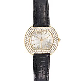 Cartier Tortue 18K Yellow Gold Diamond Silver Dial Ladies Watch 1481