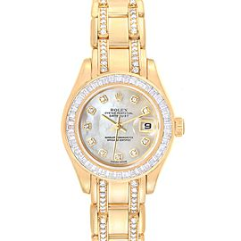 Rolex Pearlmaster Yellow Gold Two Row Diamond Bracelet Ladies Watch 80308