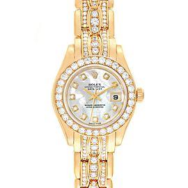 Rolex Pearlmaster Yellow Gold Triple Row Diamond Bracelet Watch 69298