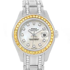 Rolex Pearlmaster Masterpiece White Gold Diamond Sapphire Watch 69309