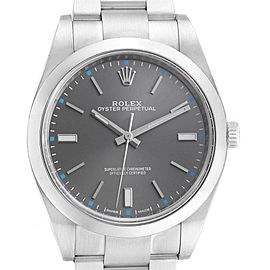 Rolex Oyster Perpetual 39 Rhodium Dial Steel Mens Watch 114300