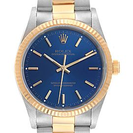 Rolex Oyster Perpetual Steel Yellow Gold Blue Dial Mens Watch 14233
