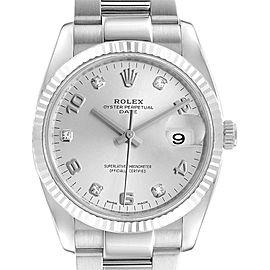 Rolex Date 36 Steel White Gold Silver Diamond Dial Mens Watch 115234