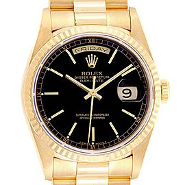 Rolex President Day-Date 36 Yellow Gold Black Dial Mens Watch 18238