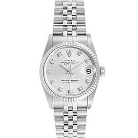 Rolex Datejust Midsize 31 Steel White Gold Diamond Ladies Watch 68274