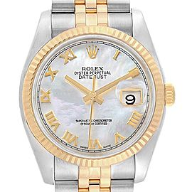 Rolex Datejust Steel Yellow Gold Mother of Pearl Dial Mens Watch 116233