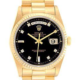 Rolex President Day-Date 36 Yellow Gold Diamond Mens Watch 18238