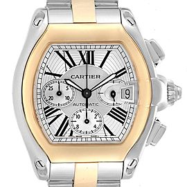 Cartier Roadster Chronograph Mens Steel Yellow Gold Watch W62027Z1