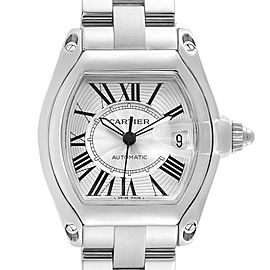 Cartier Roadster Silver Roman Dial Steel Mens Watch W62025V3
