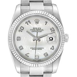 Rolex Datejust 36 Steel White Gold Mother of Pearl Mens Watch 116234