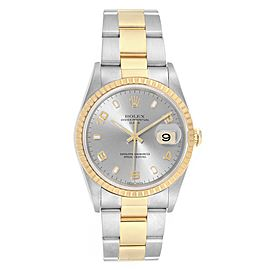 Rolex Date Steel Yellow Gold Slate Dial Mens Watch 15223