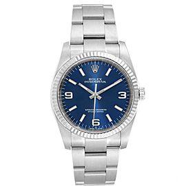 Rolex No Date Mens Steel 18K White Gold Blue Dial Watch 116034