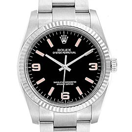 Rolex Oyster Perpetual Steel White Gold Black Dial Mens Watch 116034