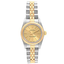 Rolex Oyster Perpetual NonDate Ladies Steel Yellow Gold Watch 76193