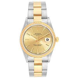 Rolex Date Mens Steel Yellow Gold Mens Watch 15223