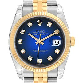 Rolex Datejust Steel Yellow Gold Blue Vignette Diamond Watch 116233 Unworn