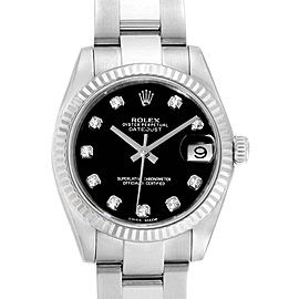 Rolex Datejust Midsize Steel White Gold Black Diamond Dial Watch 178274