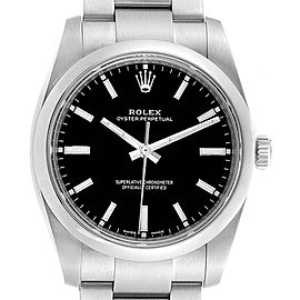 Rolex Oyster Perpetual 34mm Black Dial Steel Mens Watch 114200