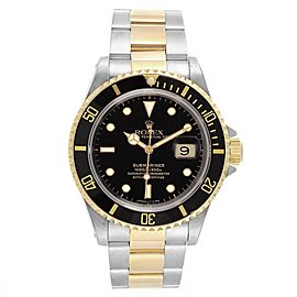 Rolex Submariner Steel Yellow Gold Oyster Bracelet Mens Watch 16613