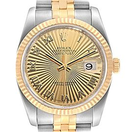 Rolex Datejust 36 Steel Yellow Gold Sunbeam Dial Mens Watch 116233