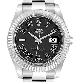 Rolex Datejust II Steel White Gold Grey Dial Mens Watch 116334