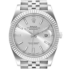 Rolex Datejust 41 Steel White Gold Silver Dial Mens Watch 126334