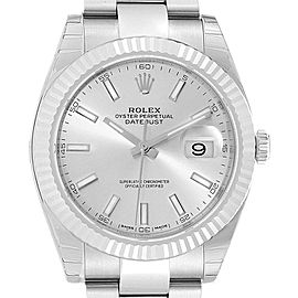 Rolex Datejust 41 Steel White Gold Silver Dial Mens Watch 126334 Unworn
