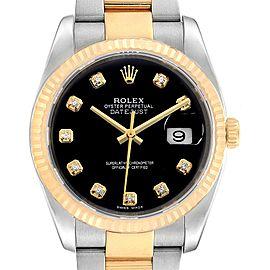 Rolex Datejust Steel Yellow Gold Black Diamond Dial Mens Watch 116233