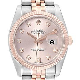 Rolex Datejust 36mm Dial Steel Rose Gold Diamond Unisex Watch 116231