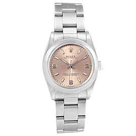 Rolex Midsize Salmon Dial Smooth Bezel Steel Ladies Watch 77080