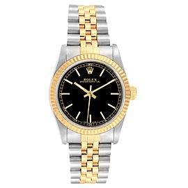 Rolex Midsize 31mm Yellow Gold Steel Black Dial Ladies Watch 67513