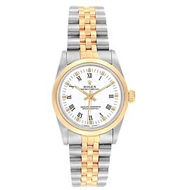 Rolex Midsize 31mm Yellow Gold Steel White Dial Ladies Watch 67513