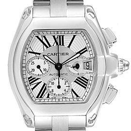 Cartier Roadster XL Chronograph Steel Mens Watch W62019X6 Box Papers